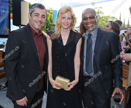 Danny Nucci, and from left, Lori Singer and Joe Morton attend the 7th annual Television Academy Honors presented by the Television Academy at the SLS Hotel, in Beverly Hills, Calif