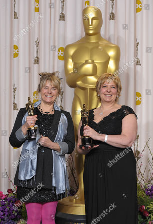 "Stock Picture of SCIENCES FOR USE UPON CONCLUSION OF THE ACADEMY AWARDS TELECAST ** Julie Dartnell, left, and Lisa Westcott pose with their award for best makeup and hairstyling for ""Les Miserables"" during at the Oscars at the Dolby Theatre, in Los Angeles"