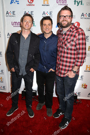 Stock Photo of From left, Tanner Foust, Adam Ferrara and Rutledge Wood attend the A+E Networks 2014 Upfront on in New York