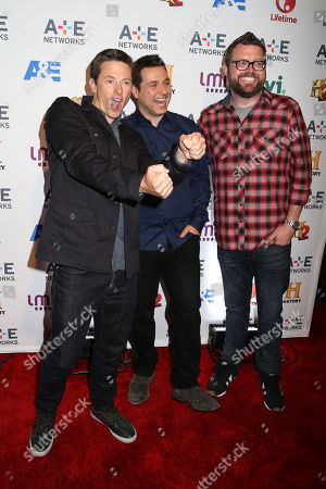From left, Tanner Foust, Adam Ferrara and Rutledge Wood attend the A+E Networks 2014 Upfront on in New York