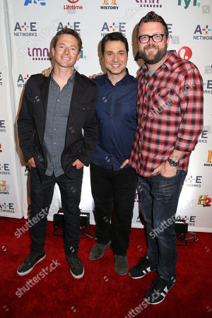 Stock Picture of From left, Tanner Foust, Adam Ferrara and Rutledge Wood attend the A+E Networks 2014 Upfront on in New York