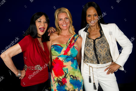 "Stock Photo of Models China Machado, left to right, Kim Alexis and Beverly Johnson featured in the documentary ""About Face: Supermodels Then and Now"" pose for a portrait on in New York"