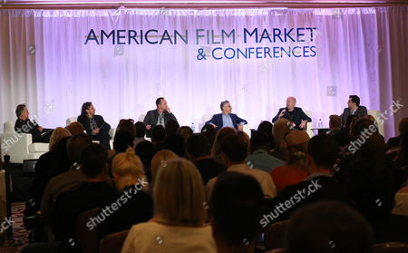Russell Schwartz, and from left, Richard Abramowitz, Nicolas Gonda, Adam Leipzig, Sam Toles and Dylan Wiley attend the 2014 American Film Market (AFM) Distribution Conference at the Fairmont Hotel on Tuesday, Nov. 11, in Santa Monica, Calif