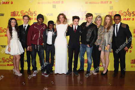 Hanae Atkins, Dominic Herman Day, Ashey Walters, Akai, Kimberley Walsh, Theo Stevenson, Kevin Bishop, Ashley Jensen, Amelia Clarkson and Gamal Toseafa at the premiere of All Stars at the VUE West End in London on