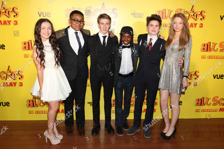 Hanae Atkins, Gamal Toseafa, Dominic Herman Day, Akai, Theo Stevenson and Amelia Clarkson at the premiere of All Stars at the VUE West End in London on