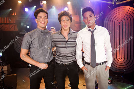 Singer Zachary Porter, left, and musicians Cameron Quiseng and Michael Martinez of the band Allstar Weekend pose for a photo during New.Music.Live. at the MuchMusic HQ, in Toronto