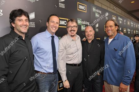"""From left, Sony Pictures Television President of Programming and Production Jamie Erlicht, AMC president Charlie Collier, Vince Gilligan, AMC Head Of Original Programming, Joel Stillerman and Sony Television President Steve Mosko attend AMC's """"Breaking Bad"""" Premiere and After Party on in San Diego, CA"""