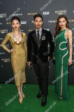 From left, Toc Tien, Ly Qui Khanh, and Ho Ngoc Ha attend the 'America's Next Top Model' Cycle 22 Premiere Party at Greystone Manor on in Los Angeles