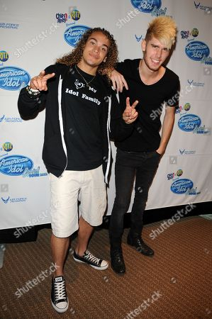 Stock Picture of August 3: (L-R) Colton Dixon and Deandre Brackensick of American Idol Live Season Eleven appear at a pre concert press conference at the Bank Atlantic Center on in Sunrise, Florida