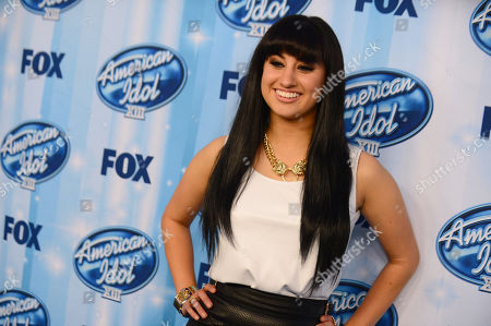 Jena Irene poses in the press room at the American Idol XIII finale at the Nokia Theatre at L.A. Live, in Los Angeles