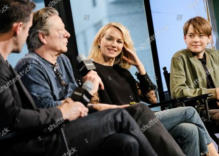 """Screenwriter Bryan Sipe, from left, and actors Chris Cooper, Naomi Watts, Judah Lewis and Jake Gyllenhaal participate in AOL's BUILD Speaker Series to discuss the film, """"Demolition"""", at AOL Studios, in New York"""
