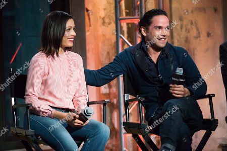 """Freida Pinto and Reece Ritchie participate in AOL's BUILD Speaker Series to discuss their new film """"Desert Dancer"""" at AOL Studios, in New York"""