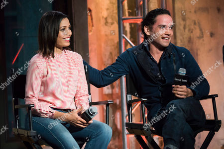 """Freida Pinto, left, and Reece Ritchie participate in AOL's BUILD Speaker Series to discuss their new film """"Desert Dancer"""" at AOL Studios, in New York"""