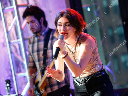 Stock Picture of Singer Amy Renee Heidemann of the band Karmin performs during an AOL's BUILD Speaker Series at AOL Studios, in New York