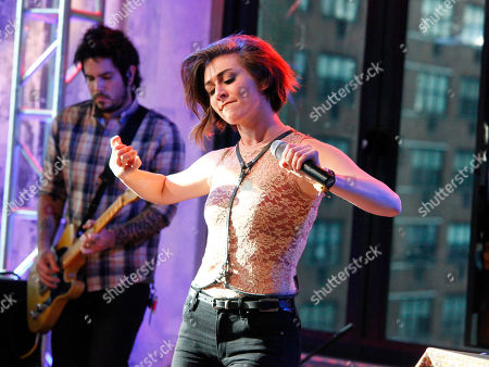 Singer Amy Renee Heidemann of the band Karmin performs during an AOL's BUILD Speaker Series at AOL Studios, in New York