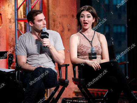Musicians Nicholas Noonan, left, and Amy Renee Heidemann, right, of the band Karmin participate in AOL's BUILD Speaker Series at AOL Studios, in New York