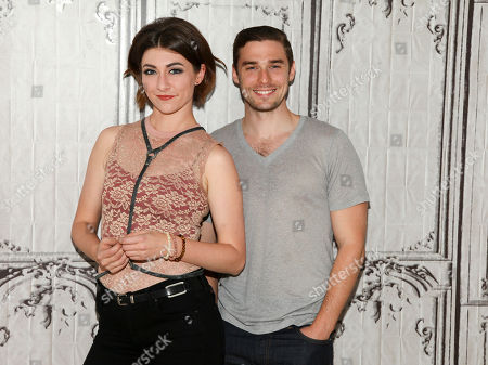 Stock Image of Musicians Amy Renee Heidemann, left, and Nicholas Noonan, of the band Karmin, participate in AOL's BUILD Speaker Series at AOL Studios, in New York