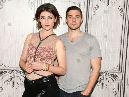 Musicians Amy Renee Heidemann, left, and Nicholas Noonan, right, of the band Karmin participate in AOL's BUILD Speaker Series at AOL Studios, in New York