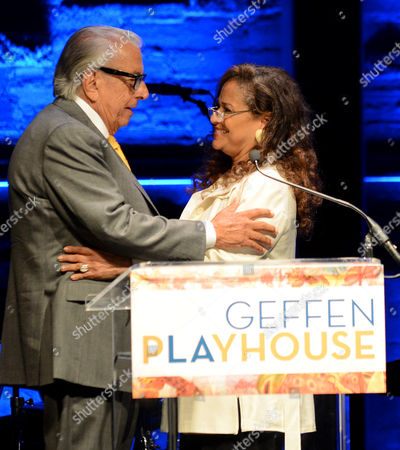 Frank Mancuso, chairman, board of directors of Geffen Playhouse, left, and Debbie Allen speak on stage during the Backstage at the Geffen gala at the Geffen Playhouse, in Los Angeles