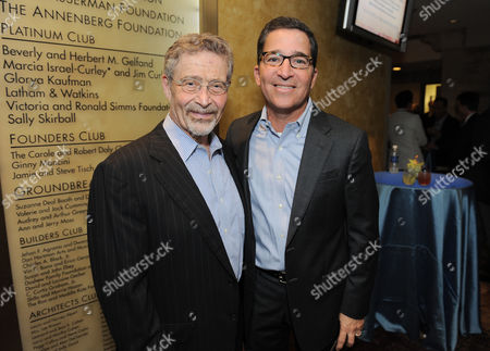 Barry Meyer, chairman of Warner Bros., left, and Bruce Rosenblum, president, Warner Bros. Television Group, attend the Backstage at the Geffen gala at the Geffen Playhouse, in Los Angeles