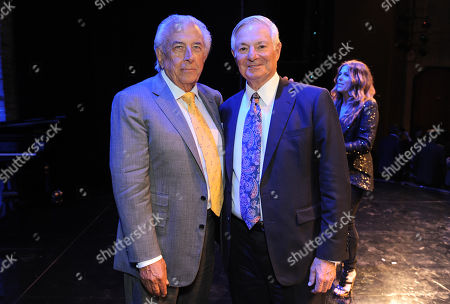 Frank Mancuso, chairman, board of directors of Geffen Playhouse, left, and Distinction in service award winner Bruce Ramer attend the Backstage at the Geffen gala at the Geffen Playhouse, in Los Angeles
