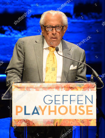 Frank Mancuso, chairman, board of directors of Geffen Playhouse, speaks on stage during the Backstage at the Geffen gala at the Geffen Playhouse, in Los Angeles