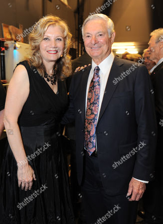 Mona Golabek, left, and Distinction in service award winner Bruce Ramer attend the Backstage at the Geffen gala at the Geffen Playhouse, in Los Angeles