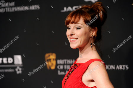 Ruth Connell arrives at the BAFTA Los Angeles Britannia Awards at the Beverly Hilton Hotel, in Beverly Hills, Calif