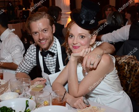 Jayma Mays (R) and Adam Campbell celebrate at Beefsteak 4 at Vibiana on in Los Angeles, CA