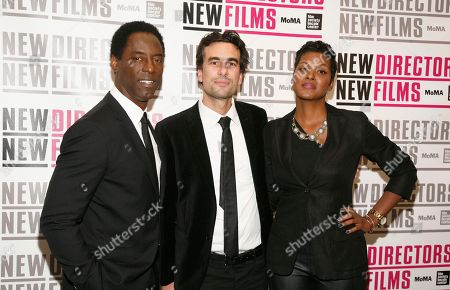 "From left, actor Isaiah Washington, director Alexandre Moors and actress Cassandra Freeman attend the premiere of ""Blue Caprice"", at the Museum of Modern Art in New York"