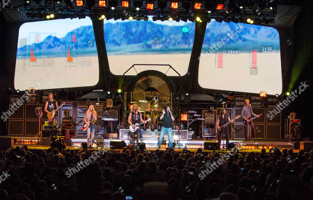 Tom Scholz, Gary Pihl, Curly Smith, Kimberley Dahme, Jeff Neal, Tommy DeCarlo, David Victor and Tracy Ferrie with Boston performing as part of the Heaven On Earth Tour at Verizon Wireless Amphitheater at Encore Park, in Atlanta