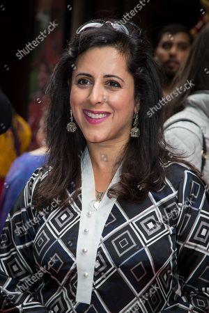 Anita Anand poses for photographers upon arrival at the premiere of the musical Bend It Like Beckham in London