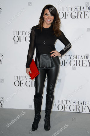 Lizzy Cundy poses for photographers at the UK Premiere of Fifty Shades of Grey, at a central London cinema