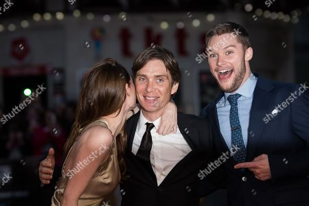 From left, actors Madeline Mulqueen, Cillian Murphy and Jack Reynor pose for photographers upon arrival at the premiere of the film 'Free Fire', in London
