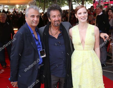 Producer Barry Navidi, left, Al Pacino and Jessica Chastain arrive for the Salome and Wild Salome UK Premiere at the BFI southbank in central London, . Salome and Wild Salome, based on Oscar Wilde???s play, was presented together followed by a Q&A with Al Pacino and Jessica Chastain hosted by Stephen Fry, and broadcasted live to cinemas around the country