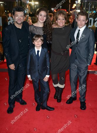 Andy Serkis and wife Lorraine Ashbourne (third from left) and their children Ruby (second from left), Sonny (far right) and Louis attend the World Premiere of 'The Hunger Games: Catching Fire', on Monday Nov.11, in Leicester Square, London. 'Catching Fire' is the second instalment in 'The Hunger Games' trilogy