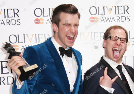 Gavin Creel, left holds the award for Best Actor in a Musical with Jared Gertner for Book of Morman which also won the Mastercard Best New Musical award, during the Olivier Awards at the Royal Opera House in central London, . Named after the British actor Laurence Olivier, the awards are given for West End shows and other productions staged in London