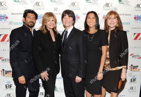 "Author Dr. Siddhartha Mukherjee, left, SU2C co-founder Lisa Paulsen, producer Ken Burns, SU2C president Sung Poblete and SU2C co-founder Rusty Robertson attend the ""CANCER: The Emperor of All Maladies"" television launch event hosted by Stand Up To Cancer (SU2C) and WETA at the Museum of Modern Art on in New York"