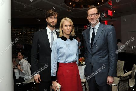 Stock Picture of From left, Justin Rockerfeller, Indre Vengris Rockefeller and Charles Rockefeller attend CANCER: THE EMPEROR OF ALL MALADIES screening at Jazz at the Lincoln Center on in New York