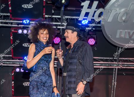 Cindy Blackman Santana and Carlos Santana make a toast with Casa Noble Crystal Tequila to celebrate his partnership with Hard Rock International to curate two limited edition cocktails during a meet and greet held at Hard Rock Cafe Las Vegas Strip on . Hard Rock Cafe's new Black Magic Press and the Maria Maria Coronita, which both feature Casa Noble, are now available at Hard Rock Cafe locations around the nation for a limited time
