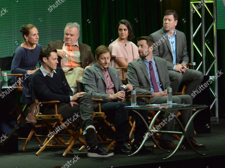"""From left, Laurie Metcalf, Will Gluck, Kelen Coleman, Mike Sikowitz, Jack McGee, Kelen Coleman, and Brian Gallivan on stage during the """"The McCarthys"""" panel at the CBS 2014 Summer TCA held at the Beverly Hilton Hotel, in Beverly Hills, Calif"""