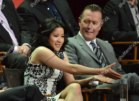 "Jadyn Wong, left, and Robert Patrick appear on stage during the ""Scorpion"" panel at the CBS 2014 Summer TCA held at the Beverly Hilton Hotel, in Beverly Hills, Calif"