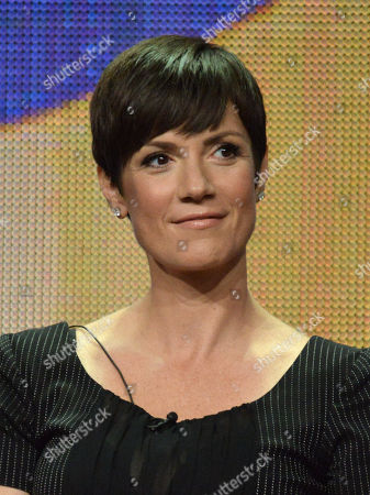"""Zoe McLellan speaks on stage during the """"NCIS: New Orleans"""" panel at the CBS 2014 Summer TCA held at the Beverly Hilton Hotel, in Beverly Hills, Calif"""