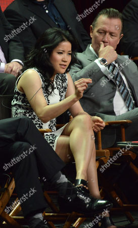 "Jadyn Wong and Robert Patrick on stage during the ""Scorpion"" panel at the CBS 2014 Summer TCA held at the Beverly Hilton Hotel, in Beverly Hills, Calif"