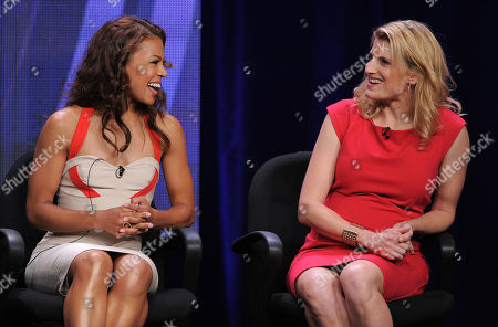 """Toni Trucks and executive producer Dana Calvo participate in the CBS """"Made In Jersey"""" TCA panel on in Beverly Hills, Calif"""