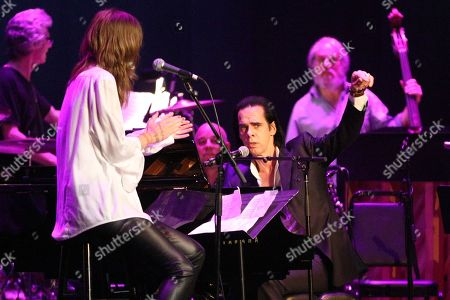 "Beth Orton, left, and Nick Cave perform at the Celebration Of The 60th Anniversary Of Allen Ginsberg's ""Howl"" at the Theatre at Ace Hotel, in Los Angeles"