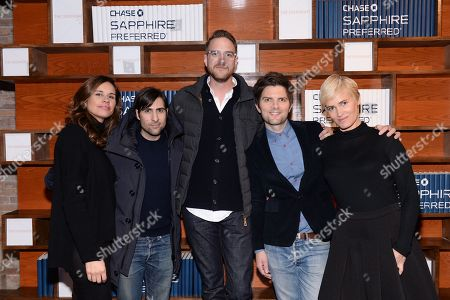 """Writer/producer Naomi Scott, left, actor Jason Schwartzman, director Patrick Brice, actor Adam Scott and actor Judith Godreche pose together at """"The Overnight"""" cast party hosted by Chase Sapphire Preferred during the 2015 Sundance Film Festival on in Park City, Utah"""