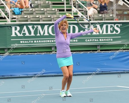 Stock Image of Hoda Kobt participates in The 25th Annual Chris Evert/Raymond James Pro-Celebrity Tennis Classic at Delray Beach Tennis Center on in Delray Beach, Florida