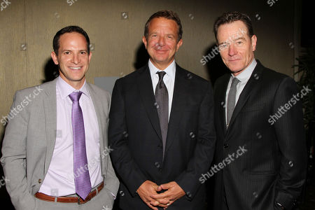 From left, founder of CoachArt Zander Lurie, CEO and co-founder of UTA Jeremy Zimmer, and Bryan Cranston attend the CoachArt Gala of Champions in Beverly Hills, Calif. on