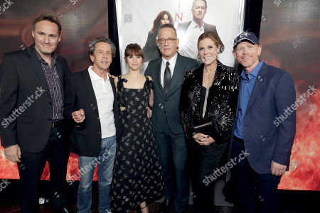"""Jon Donahue, Producer Brian Grazer, Felicity Jones, Tom Hanks, Rita Wilson and Director/Producer Ron Howard seen at Columbia Pictures Presents in Association with Imagine Entertainment the Los Angeles Special Red Carpet Screening of """"Inferno"""" at The DGA, in Los Angeles"""